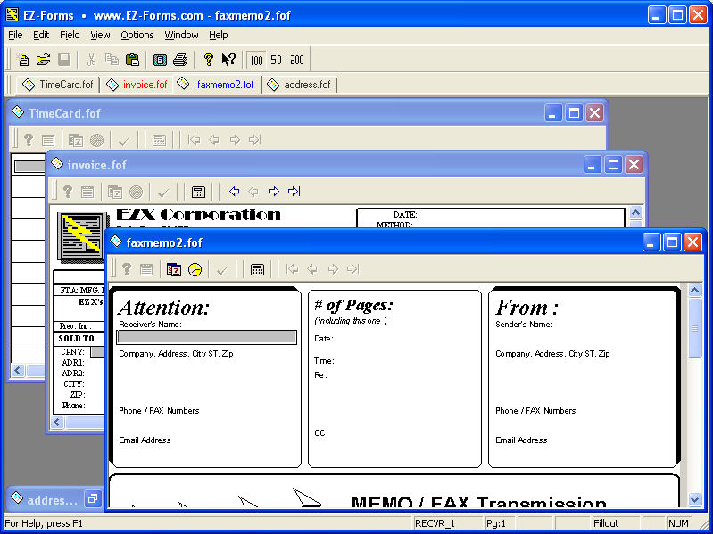 Click to view EZ-Forms PRO Viewer 5.50.ec.220 screenshot